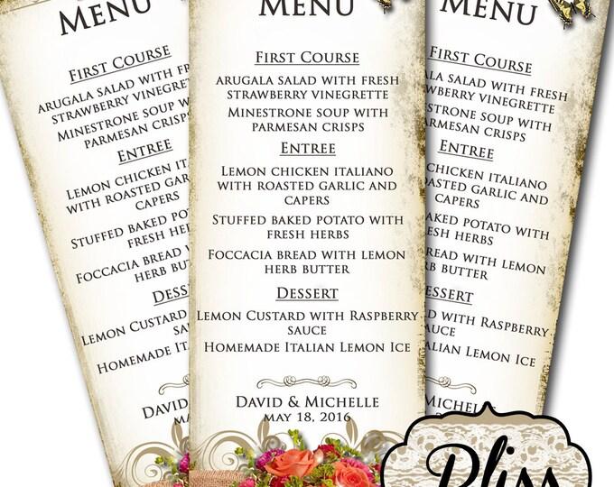 BLISS Wedding Menu, Printable Digital Images, Weddings, Parties, Bridal Shower, Menu,Baby Shower, Birthday, Wedding Decorations