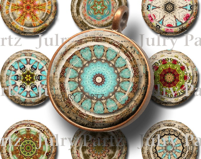 MOROCCAN RELICS 1x1 circle Tiles, Printable Digital Images, Cards, Gift Tags, Stickers, Scrabble Tiles, Magnets