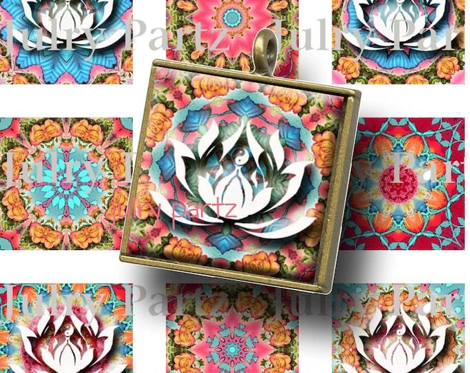 SUMMER at the Hamptons LOTUS images, Healing Mandalas, 1x1 Square Tiles,Printable Digital Images, Cards, Scrabble Tiles, Yoga, Meditation