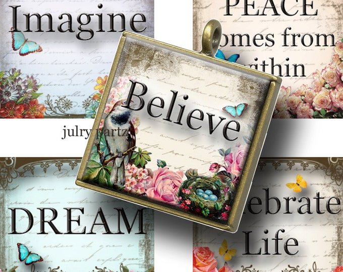 QUOTES and Affirmations ,1x1 Square,Printable Digital Images, Cards, Gift Tags, Scrabble Tiles, Yoga, Meditation