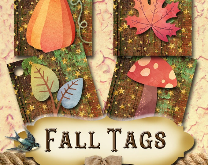 48•AUTUMN Tags•Gift Tags•Paper Tags•Price Tags•Clothing Tags•Thank You Tags•Fall Tags