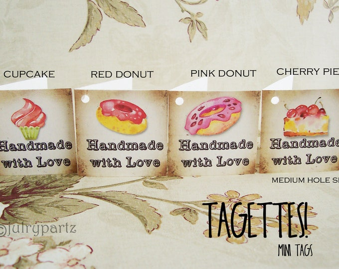 60-TAGETTES•SWEETS Mix•Mini Tags•Hang tags•Gift Tags•Favor Tags•Paper Tags•Price Tags•Clothing Tags