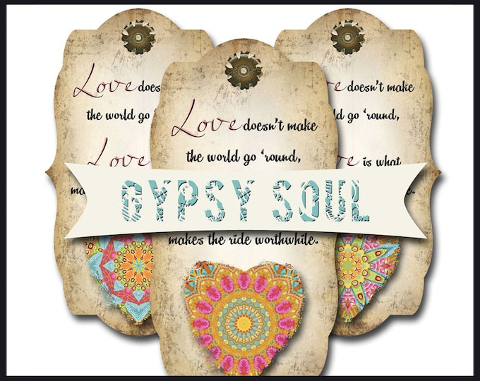 8 GYPSY SOUL Heart Tags, Thank you tags, hang tags, flower tags, favor tags, gift tags, scrapbooking images