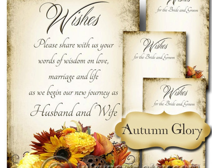 AUTUMN GLORY, Set of Wedding Wish Sign and Tags, Wish Tree Cards, Printable,DIY Weddings, Bridal Shower, Wedding Shower, Wedding Decoration
