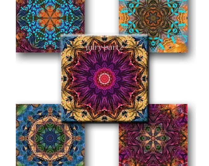 PERSIAN RUG Mandalas 1x1 Square ,Printable Digital Images, Cards, Gift Tags, Scrabble Tiles, Yoga, Meditation