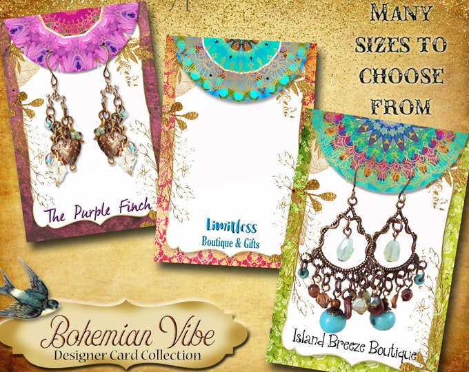 BOHEMIAN VIBES•Designer Card Collection•Custom Tags•Labels•Earring Display•Clothing Tags•Custom •Boutique Card•Custom Tags•Custom Labels