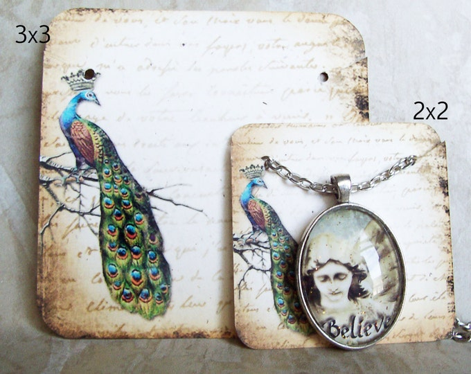 60•REGAL PEACOCK•Necklace and Earring Cards•Jewelry Cards•Necklace Card•Earring Holder•Necklace Holder•2x2 or 3x3