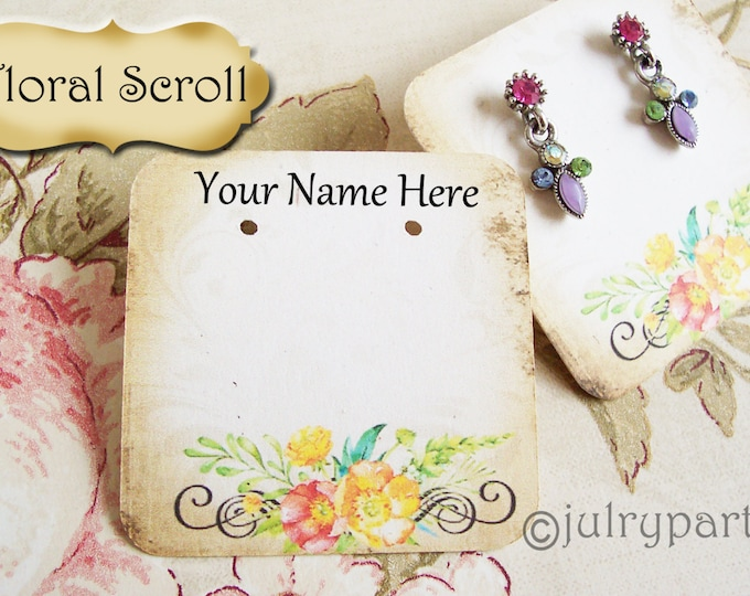 60•FLORAL SCROLL•Necklace and Earring Cards•Jewelry cards•Necklace Card•Display•Earring Holder•Necklace •2x2 or 3x3