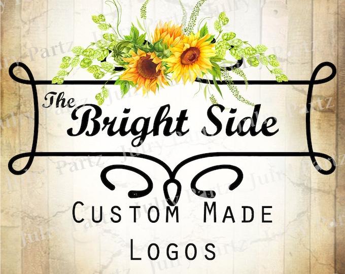 LOGO in The Bright Side•Premade Logo•Jewelry Card Logo•Flower Logo•Custom Logo•Shop Logo