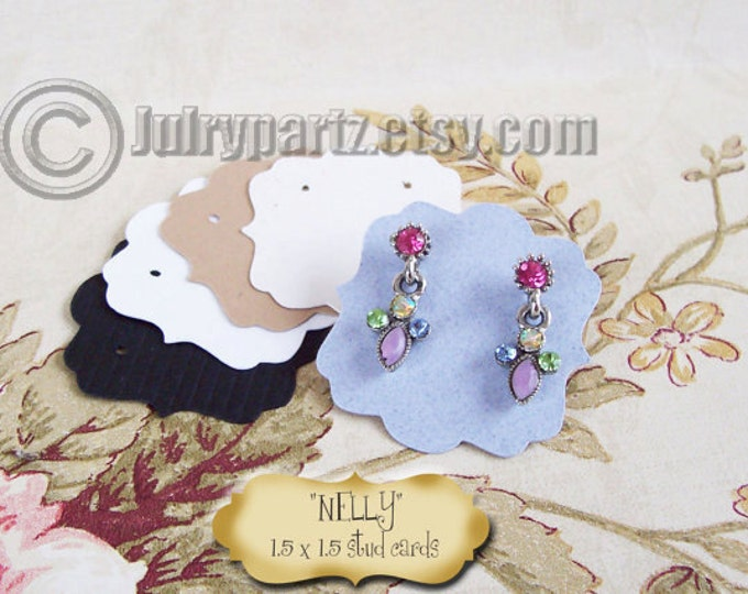 60•NELLY•1.5x 1.5 inch•EARRING CARDS•Jewelry Cards•Earring Display•Earring Holder•Post Earring Holder