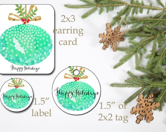 HOLIDAY•Earring Cards•2x3 Earring Cards•Jewelry Cards•Holiday Tags•Christmas Earring Cards•Holiday Labels•Christmas Tags•Ornament 2