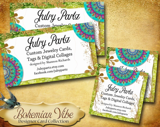 BOHEMIAN VIBES Business Cards•Designer Card Collection•Custom Business Cards•Custom Cards •Boutique Cards•Custom Calling Cards•Design 2 Lime