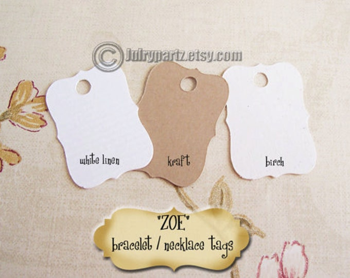 50•Mini ZOE•Hang Tags•.75x1.25 inch•Necklace Tags•Bracelet Tags•Price Tags