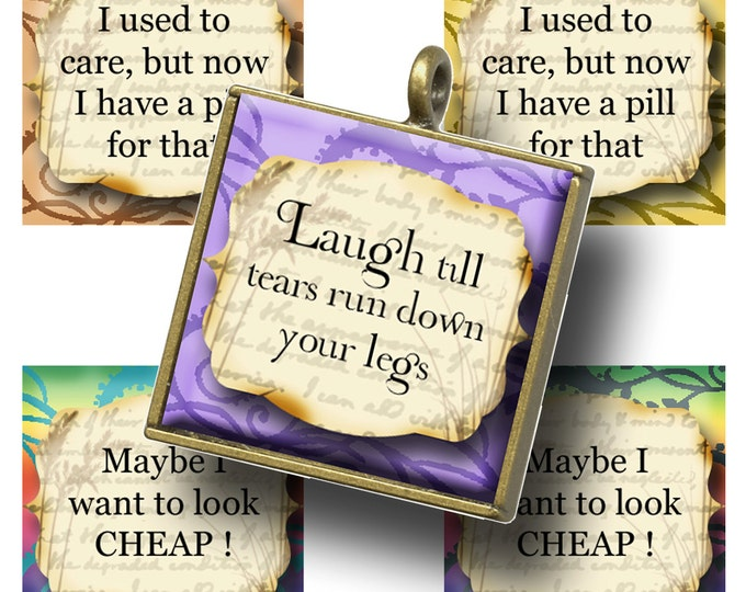 HUMOROUS QUOTES 1x1 images, Printable Digital Images, Cards, Gift Tags, Scrabble Tiles