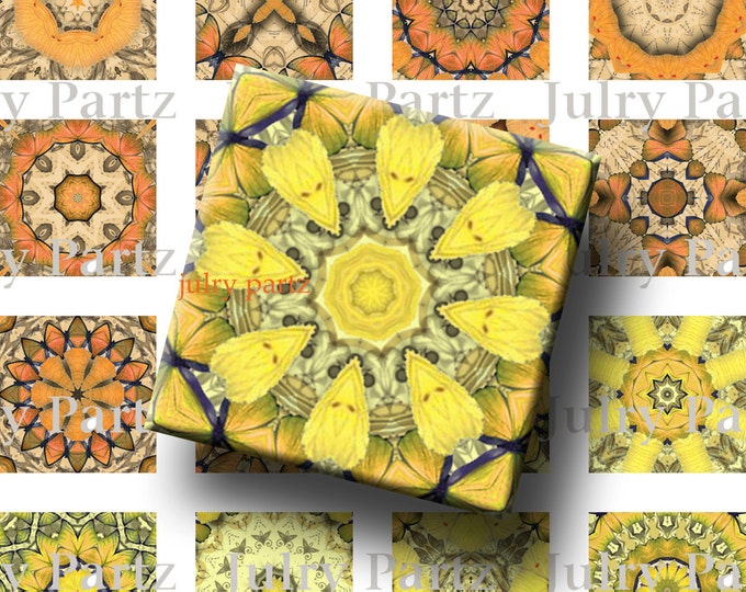 MAGICAL SUNFLOWERS, Solar Plexus and sacral Chakra Mandalas 1x1 Square,Printable Digital Image,Healing Mandalas,Magnets,Yoga, Meditation
