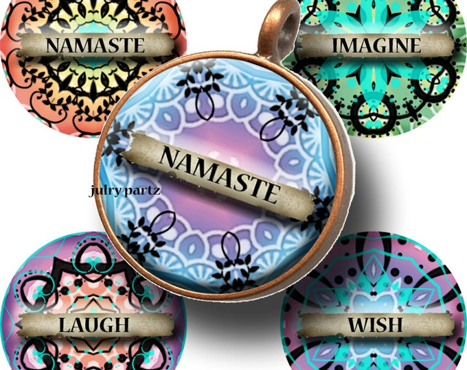 BRIGHTS W/ Affirmations 1x1 Circle Tiles,  Printable Digital Images, Cards, Bottlecap Necklaces, Gift Tags, Scrabble Tiles, Magnets