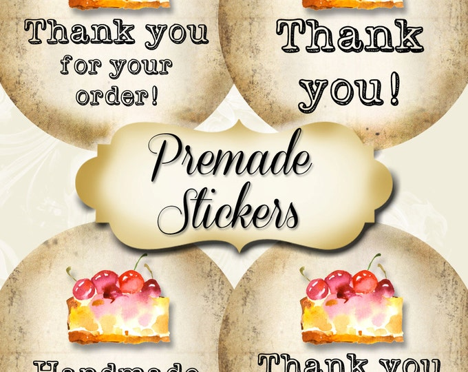 PREMADE•60 Custom 1.5 x 1.5 Round STICKERS•Labels•Tags•Package Labels•Custom Stickers•Custom Labels•Cherry Pie Rustic