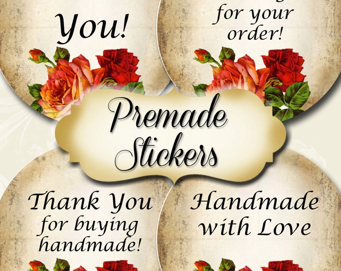 PREMADE•60 Custom 1.5 x 1.5 Round STICKERS•Round Labels•Tags•Package Labels•Custom Stickers•Custom Labels•Packaging•Red Rose Series