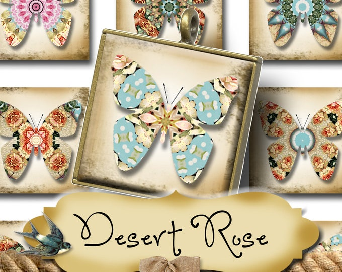 DESERT ROSE•1x1 Butterfly Images•Printable Digital Images•Cards•Gift Tags•Stickers•Magnets•Digital Collage Sheet