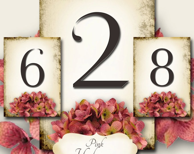 PINK HYDRANGEA, Wedding Table Number, 5x7, Printable, Weddings, Parties, Bridal Shower, Baby Shower, Seating Numbers, wedding decoration