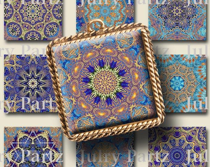 INDIGO SOUL,Third eye Chakra Mandalas 1x1 Square,Printable Digital Image,Healing Mandalas,Magnets,Gift Tags,Scrabble Tiles,Yoga, Meditation