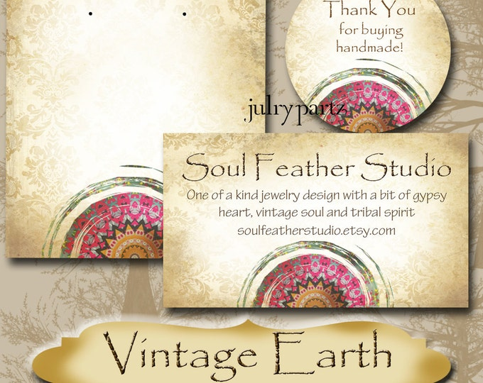 VINTAGE EARTH Series 4•Custom Tags•Labels•Earring Display•Clothing Tags•Custom Hang Tags•Boutique Card•Tags•Custom Tags•Custom Labels