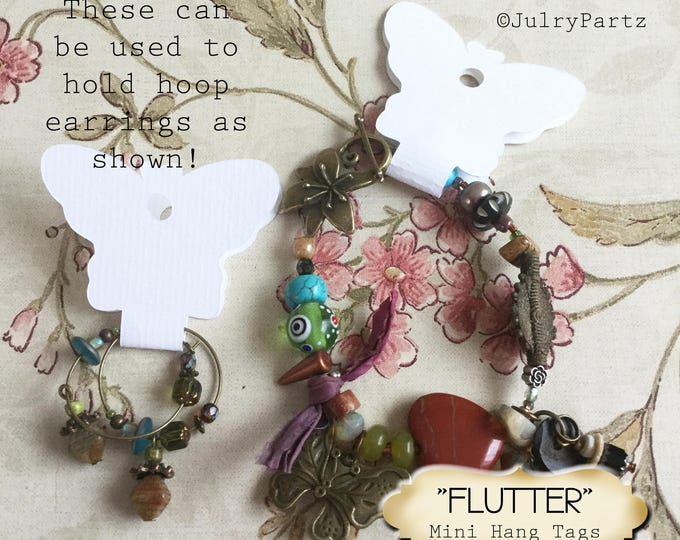 36•3.5L x 2W•FLUTTER•Butterfly Hang Tags•Jewelry Cards•Earring Display•Necklace Tag•Hoop Earring Holder