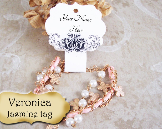 36•Veronica Design•Jasmine Hang Tags•2x5 inch•NECKLACE HOLDERS•Fold Over Tags•Jewelry card•Necklace Tag•Bracelet Holder