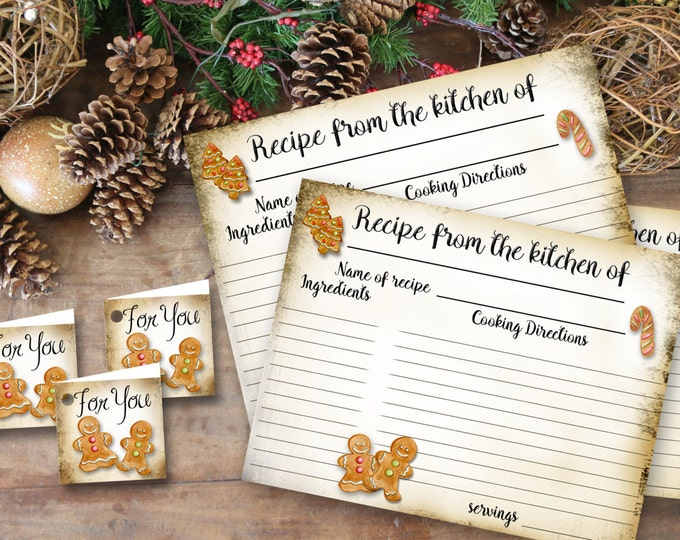 Gingerbread RECIPE CARD and Tags, Recipe Card, Wedding Gift, New Home