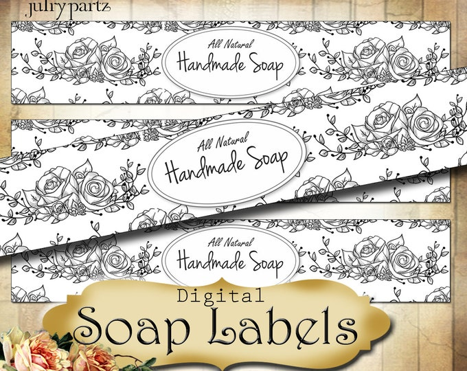 Printable SOAP Labels•Soap Packaging•Custom Packaging•Soap Display•Belly Band•Cigar Band Label•Custom Packaging•Floral Design 3