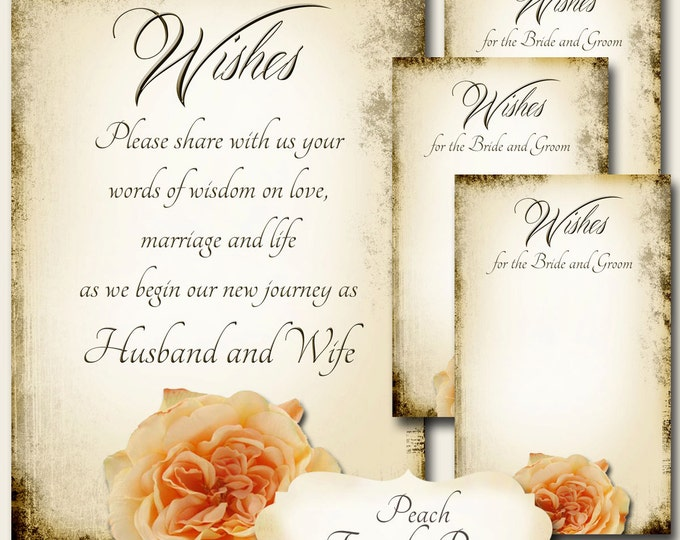 Peach FRENCH ROSE Set of Wedding Wish Sign and Tags, Wish Tree Cards, Printable,DIY Weddings, Bridal Shower, Wedding Shower, Boho Wedding
