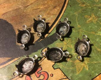 10x8 Vintage Antiqued Silver Oval Settings