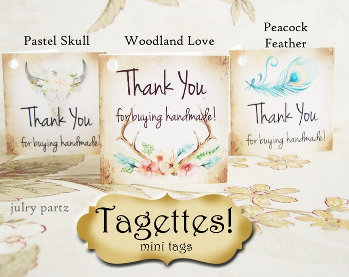 60•TAGETTES•Boho•Mini Tags•Hang tags•Gift Tags•Favor Tags•Paper Tags•Price Tags•Clothing Tags