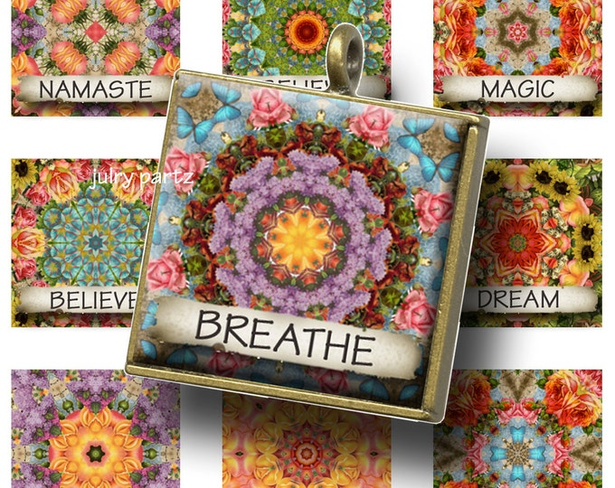 AUGUST GARDEN Affirmation 1x1 Images, Printable Digital Images, Cards, Gift Tags, Scrabble Tiles, Magnets,Yoga Jewelry