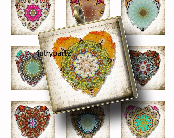 Land DOWN UNDER Rustic Heart•1x1 square images•Printable Digital Images•Cards•Gift Tags•Sticker• Magnets•Digital Collage Sheet