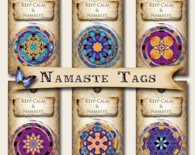 Keep Calm NAMASTE Tags, Thank you tags, hang tags, flower tags, favor tags, gift tags, scrapbooking images
