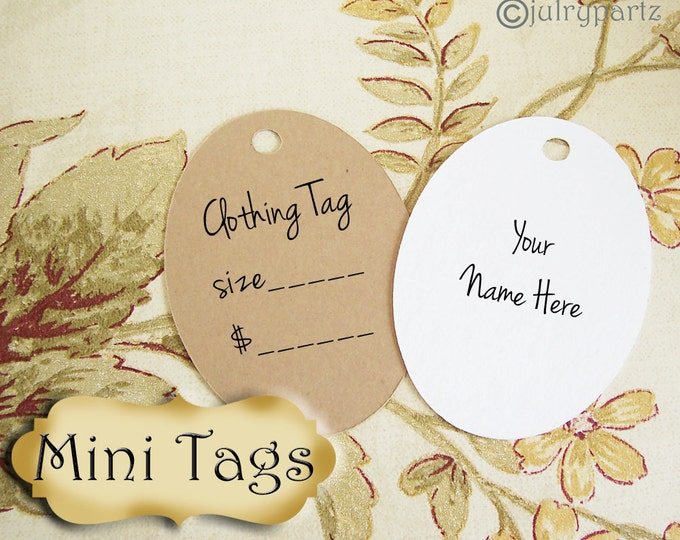 25•MINI TAGS #11• 1.5 X 2 inch•Necklace Tags•Bracelet Tags•Price Tags•Clothing Tags•Favor Tags•Oval