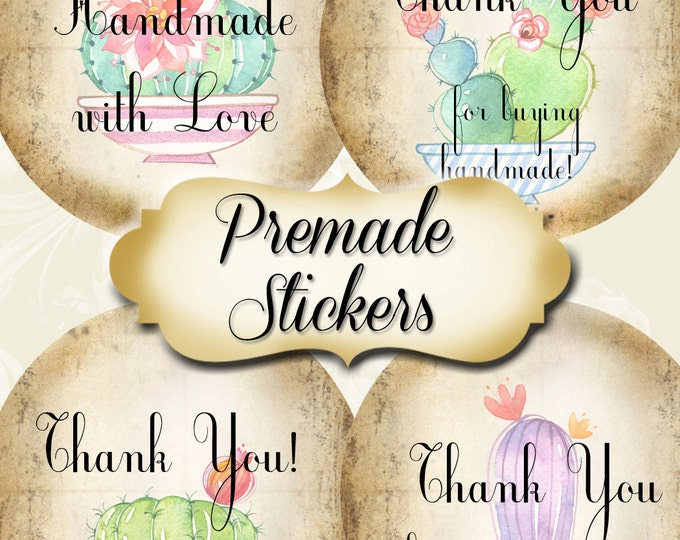 PREMADE•60 Custom 1.5 x 1.5 Round STICKERS•Labels•Tags•Package Labels•Custom Stickers•Custom Labels•Fun CACTUS 2 Rustic