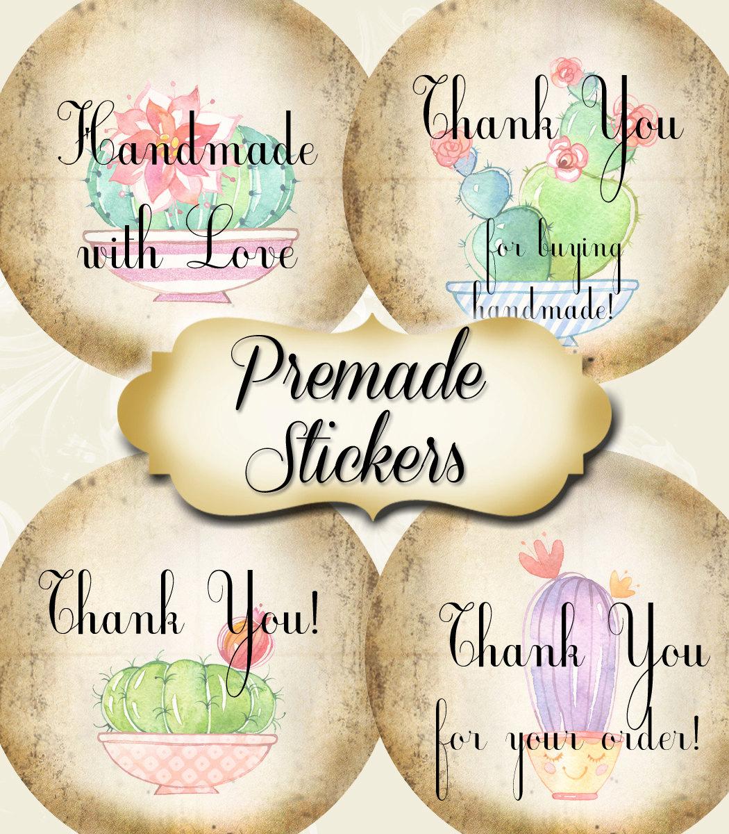 PREMADE•60 Custom 1 5 x 1 5 Round STICKERS•Labels