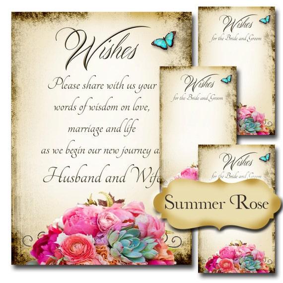 Summer Rose Set Of Wedding Wish Sign And Tags Wish Tree Cards Printable Diy Weddings Braut Shower Hochzeitsdusche Hochzeitsdekoration