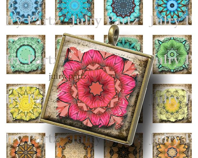 Ancient Chakra Mandalas 1x1 Square ,Printable Digital Image,Digital Collage,Healing Mandalas,Magnets,Scrabble Tiles,Yoga, Meditation