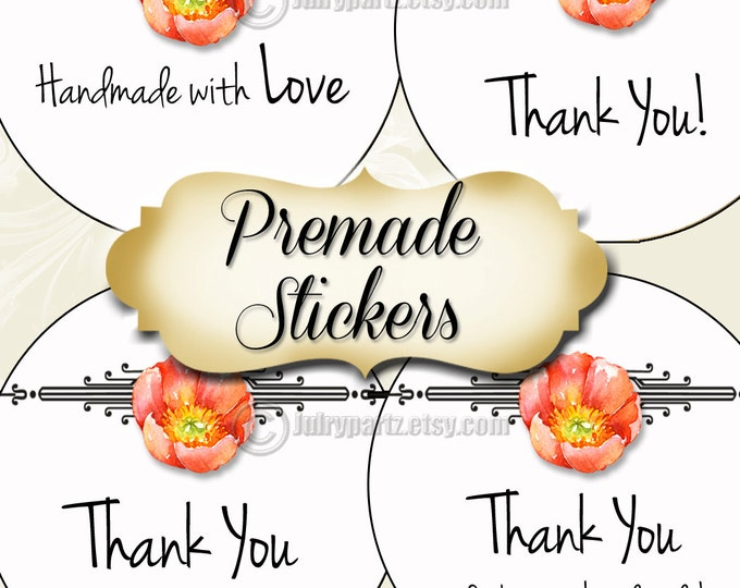 PREMADE•60 Custom 1.5 x 1.5 Round STICKERS•Round Labels•Tags•Package Labels•Custom Stickers•Custom Labels•Packaging•Orange POPPY Series