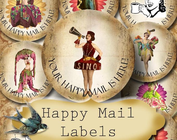 Happy Mail •60 Custom 1.5 x 1.5 Round STICKERS•Round Labels•Tags•Package Labels•Custom Stickers•Custom Labels•Packaging•FANCY GIRLS