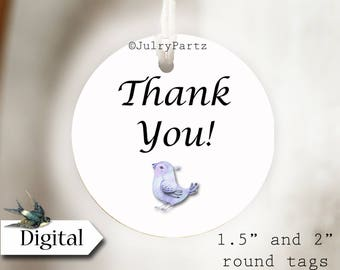 DIY BLUEBIRD•Thank You Tags•Printable Tags•Digital Tags•Favor Tags
