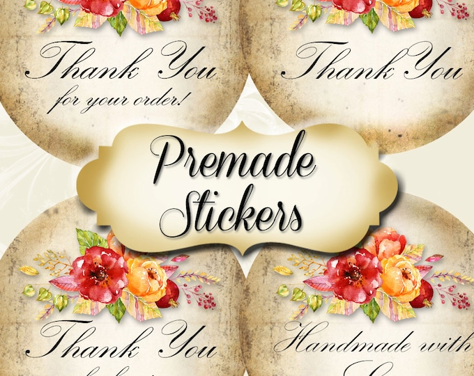 PREMADE•60 Custom 1.5 x 1.5 Round STICKERS•Labels•Tags•Package Labels•Custom Stickers•Custom Labels•Red BOUQUET 1 Rustic