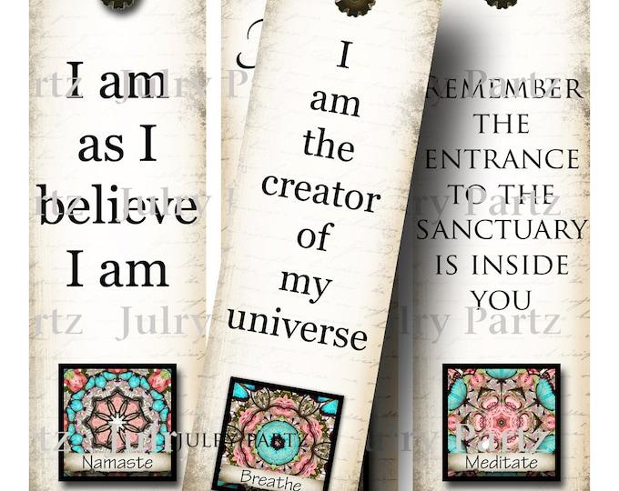 OM BOOKMARKS in Coral Zen, Yoga Bookmark, Rectangle Image ,Printable Digital Images, Gift Tags, Yoga tag, Meditation, Printable Bookmark