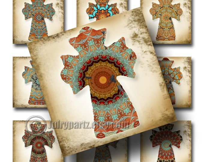 COWGIRL DREAMS Cross, 1x1 square, Printable Digital Images, Cards, Gift Tags, Stickers, Scrabble Tiles, Magnets, junk gypsy style, southwest