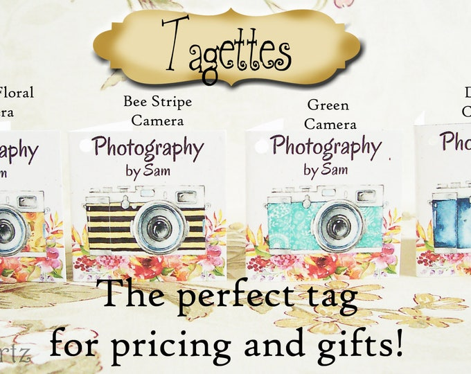 60-TAGETTES•CAMERA Mix•Mini Tags•Hang tags•Gift Tags•Favor Tags•Paper Tags•Price Tags•Clothing Tags