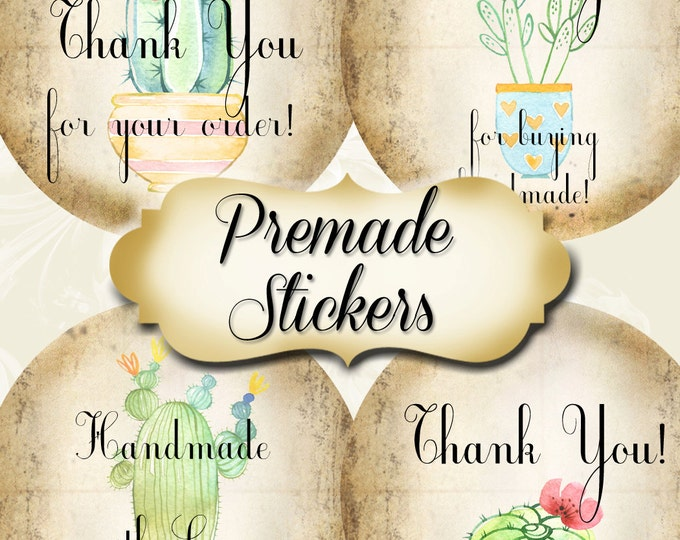 PREMADE•60 Custom 1.5 x 1.5 Round STICKERS•Labels•Tags•Package Labels•Custom Stickers•Custom Labels•Fun CACTUS Rustic