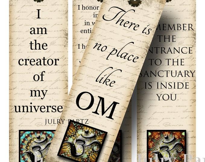 OM BOOKMARKS, Yoga Bookmark, Rectangle Image ,Printable Digital Images, Gift Tags, Yoga tag, Meditation, Printable Bookmark